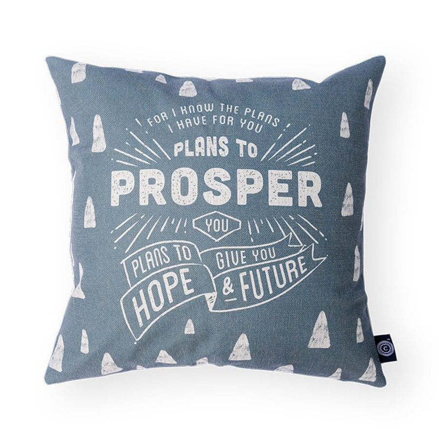 "Everyone love cushion covers! They can easily comfort you with its soft feel and comfort messages and then all is well in the world. Features bible verse ' For I know the plans…"". Premium 45cmx45cm light grey pillow cover made of cotton linen. With hidden zip feature."