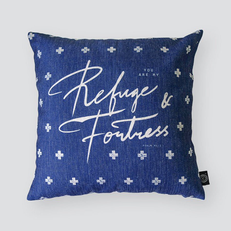 Everyone love cushion covers! They can easily comfort you with its soft feel and comfort messages and then all is well in the world. Features bible verse ' Refuge & Fortress'. Premium 45cmx45cm light blue pillow cover made of cotton linen. With hidden zip feature.
