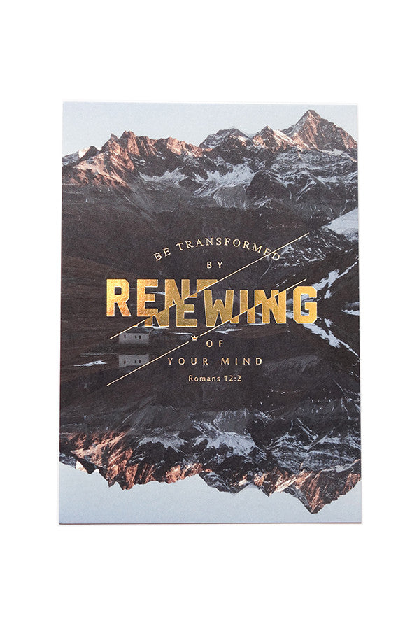 Christian verse card (Paper Size A6, 300GSM Paper, Printed in Singapore) design: Romans 12:2 on a mountaintops background