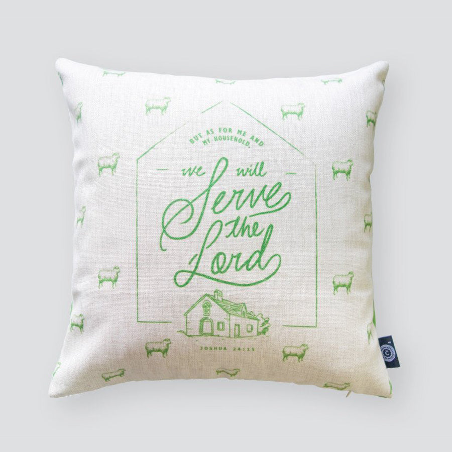 Premium 45cmx45cm pillow cover made of thick cotton linen,  neon green designs. With hidden zip feature. Features verse 'As for me and my family, we will serve the Lord'.