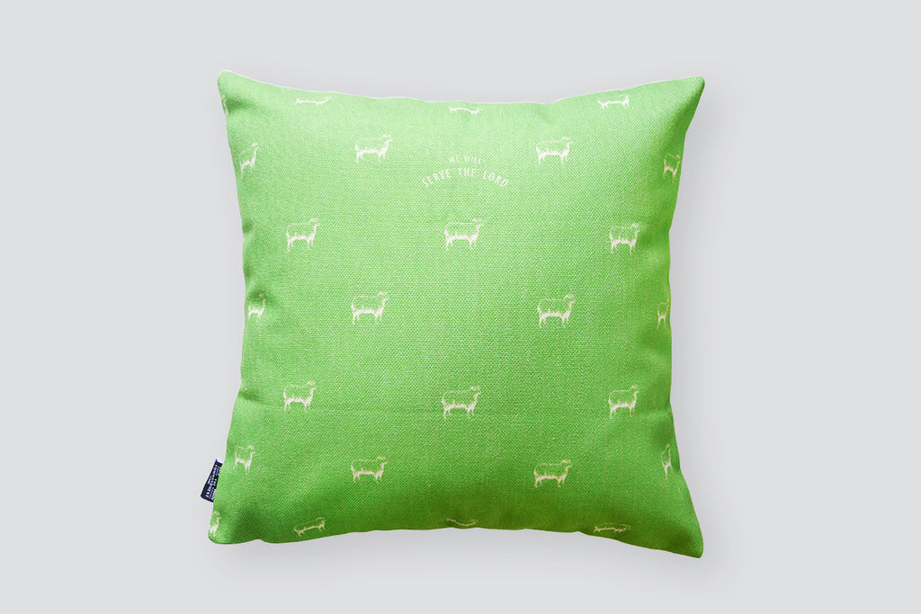 sheep design in white with neon green background