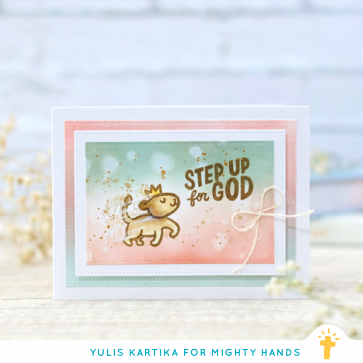 Homemade card with tagline 'step up for God'