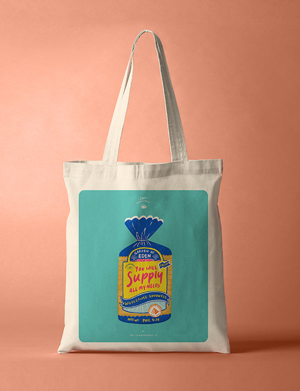 Tote bag with design of bread loaf 'You will supply all my needs'.