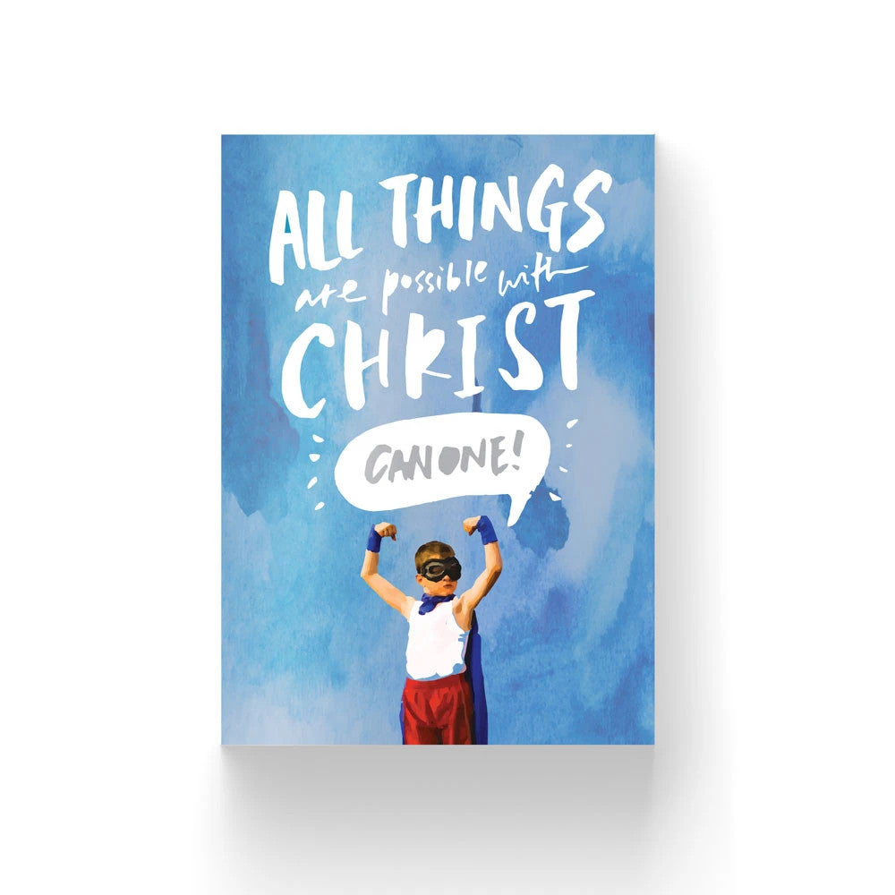Blue Christian verse card with a super boy (300GSM Maple Paper, Printed in Singapore) design: All things are possible with Christ. Can One!