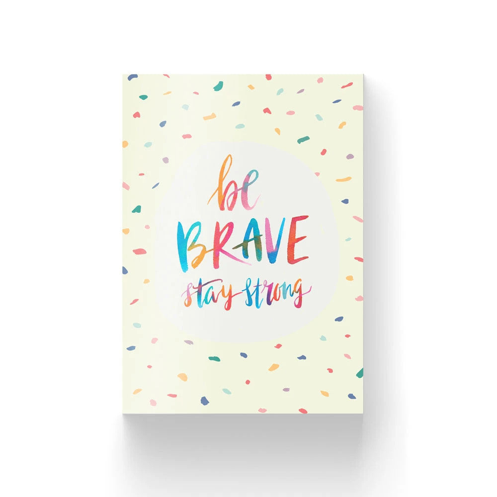 Christian verse card (Paper Size A6, 300GSM Paper, Printed in Singapore) design: be brave, stay strong on confetti background
