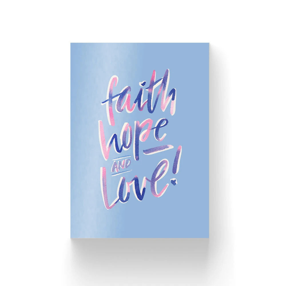 Christian verse card (Paper Size A6, 300GSM Paper, Printed in Singapore) design: Faith Hope and Love