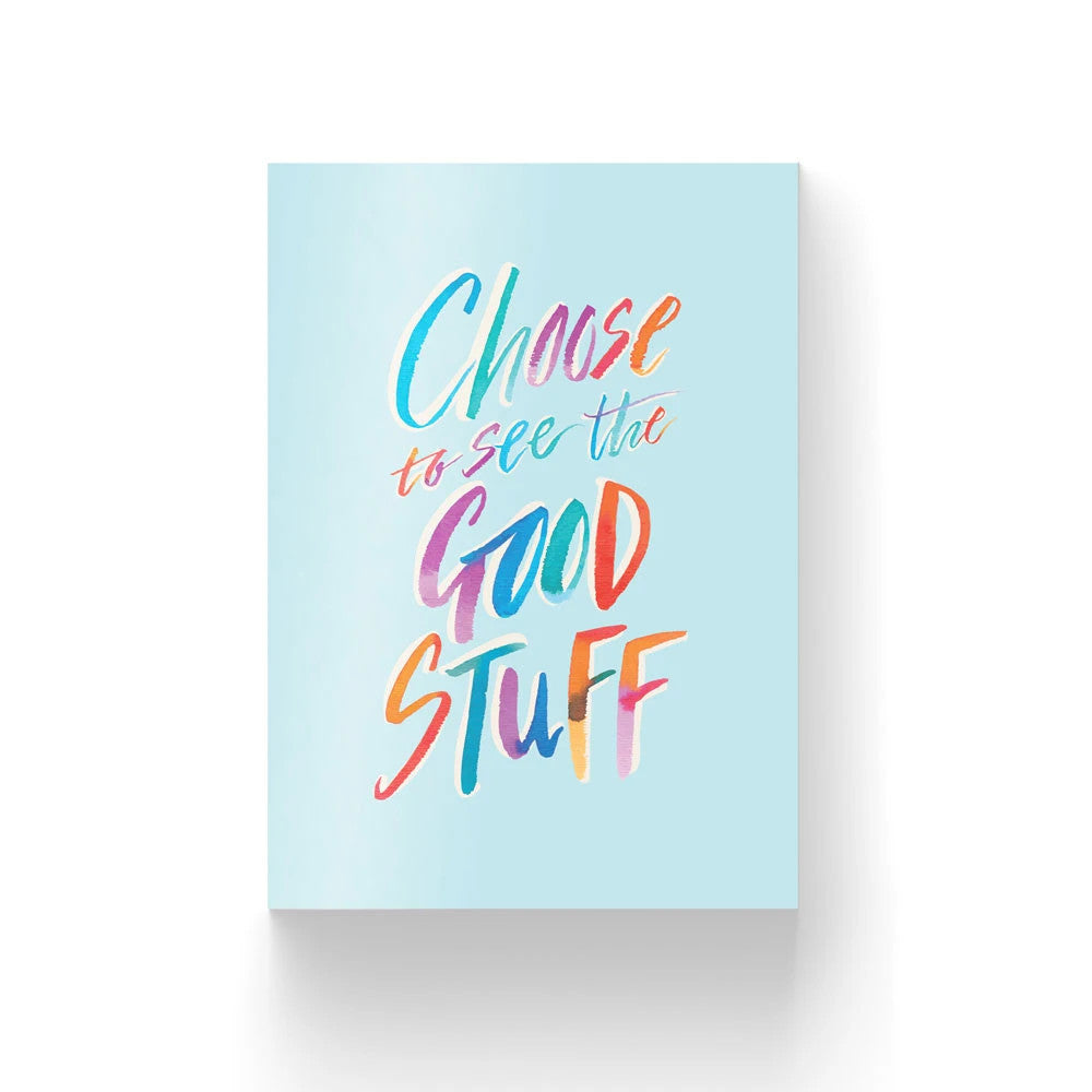 300GSM Greeting card pastel blue theme with rainbow calligraphy 'choose to see the good stuff'. Bible verse greeting cards to inspire, uplift and encourage anyone on any occasion. Comes with envelope and plastic wrap!