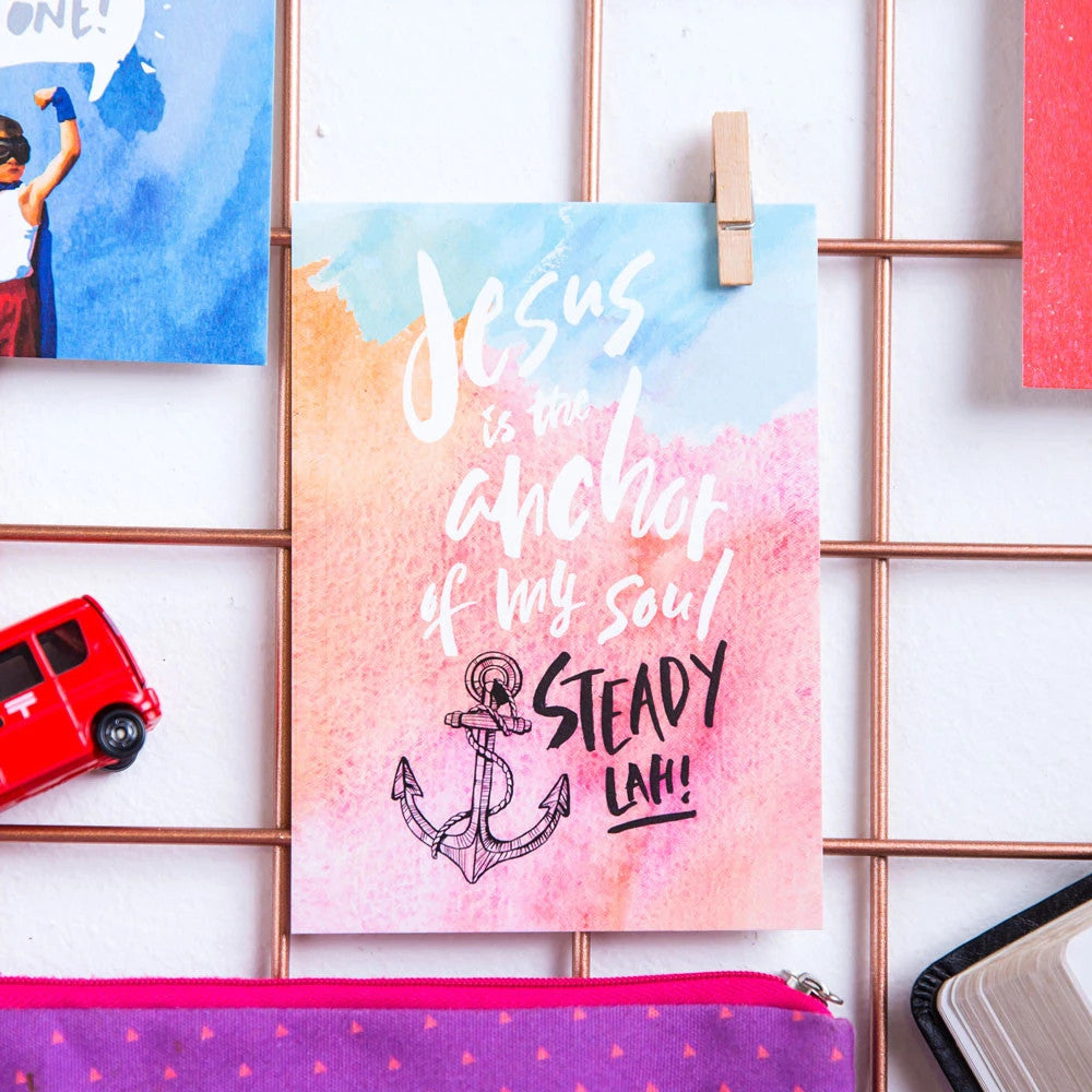 Greeting card pinned on a moodboard makes a great room decor ideas. Singlish bible verse decoration cards.