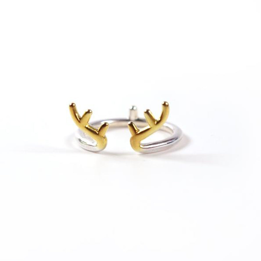 16mm diameter ring with deer antlers, silver plated alloy. As the deer silver ring.