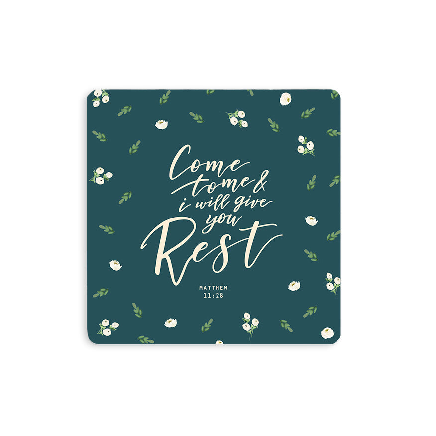 "10cmx10cm green wooden coaster with floral designs and encouragement bible verse ""Come to me and I will give you rest""."