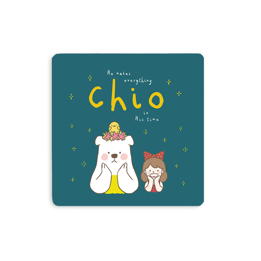 "10cmx10cm forest green wooden coaster with encouragement bible verse in Singlish ""He makes everything chio in His time"" and cute chick, bear and girl cartoon designs."