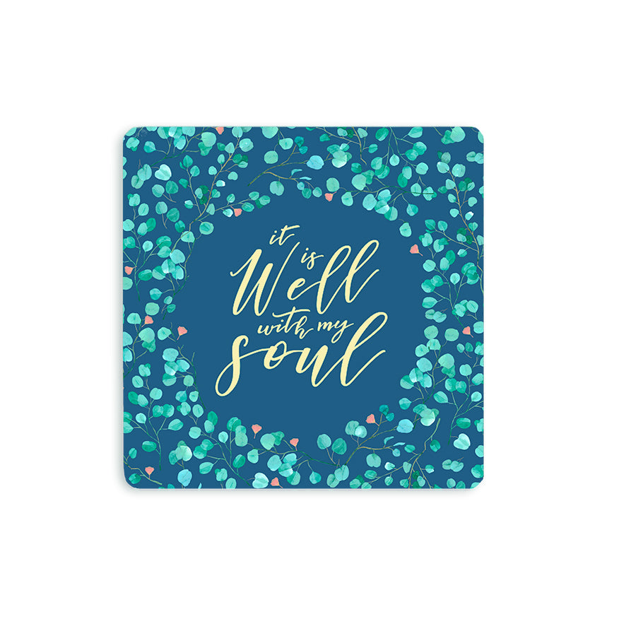 "10cmx10cm green wooden coaster with floral designs and encouragement bible verse ""It is well with my soul""."