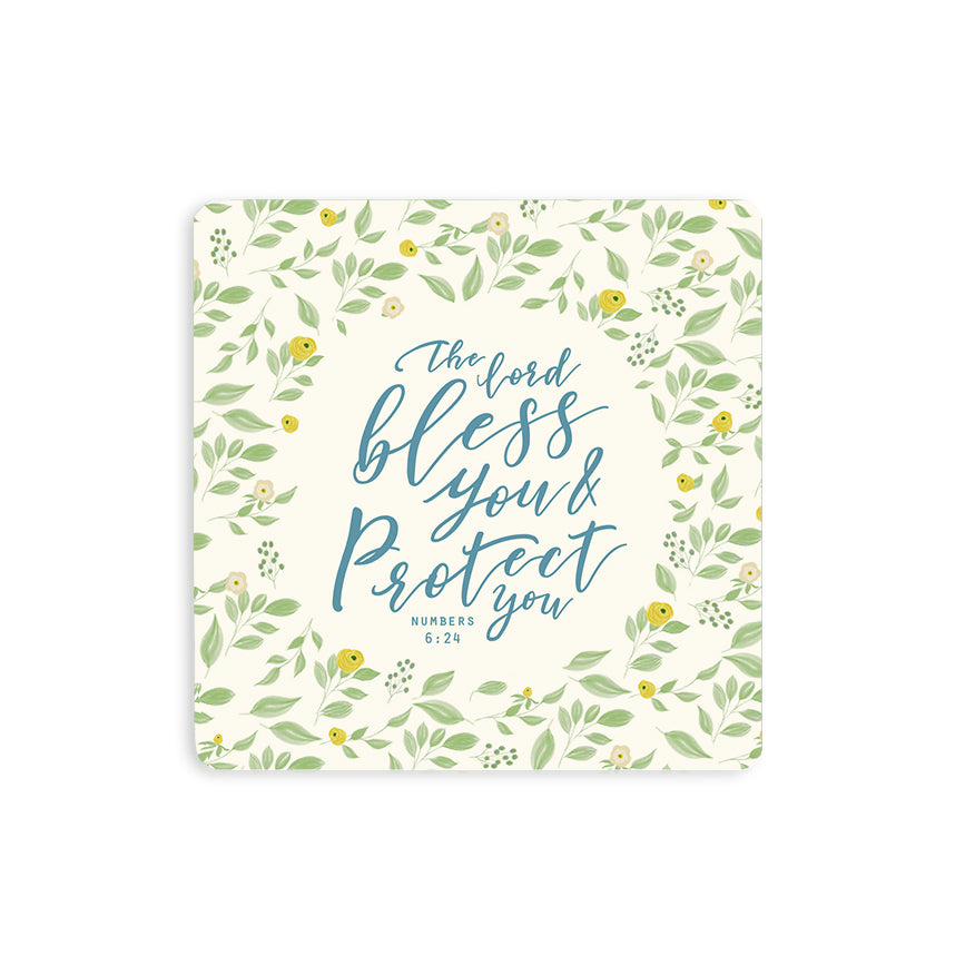 "10cmx10cm colourful wooden coaster with garden theme encouragement bible verse ""Rejoice in the Lord always"". Great home decor ideas."