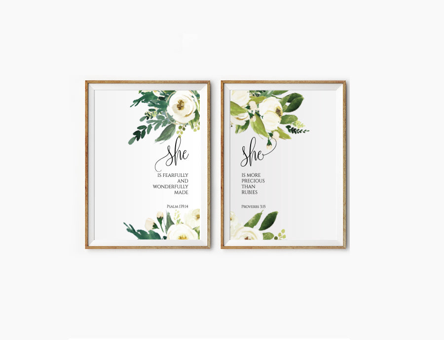 2 Posters featuring beautiful typography bible verses with flower field designs. 'She is..'series. 200GSM paper, available in A3,A4 size.