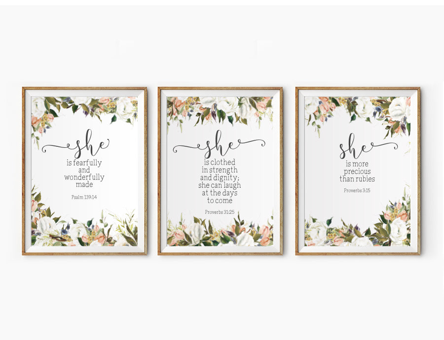 3 Posters featuring beautiful typography bible verses with flower field designs. 'She is..'series. 200GSM paper, available in A3,A4 size.