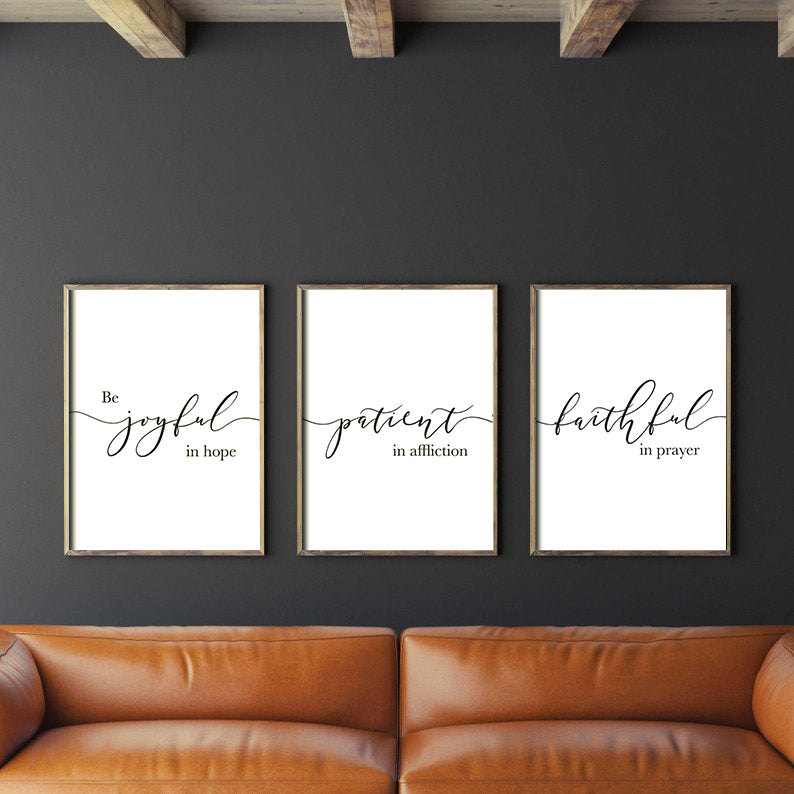 3 Posters featuring beautiful typography bible verses 'Be joyful in hope, patient in affliction, faithful in prayer'. Minimalistic living room decor ideas.
