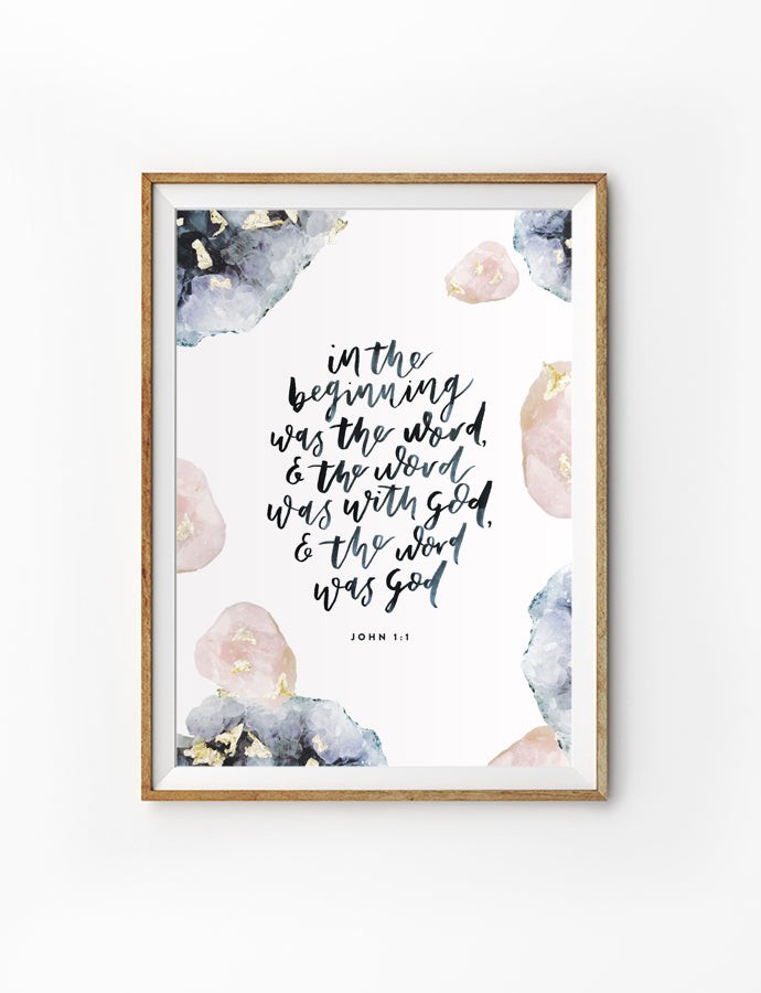 Posters featuring beautiful typography inspirational quote. 'In the beginning was the word and the word was with God and the word was God'. 200GSM paper, available in A3,A4 size.