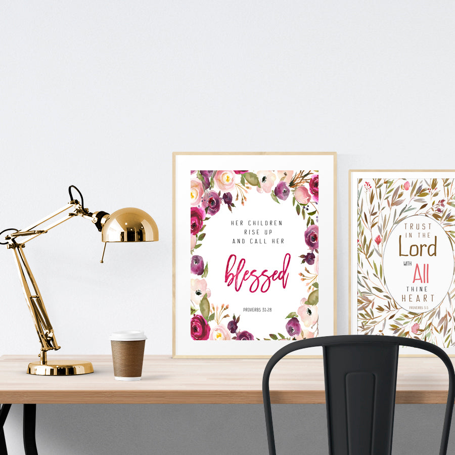 Poster featuring flowers and bible verses from Proverbs 31:28 makes great Mother's day gift.
