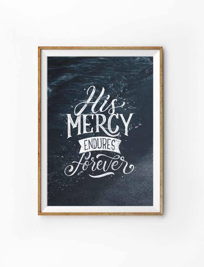 Night sky poster featuring white font typography 'His mercy endures forever'.