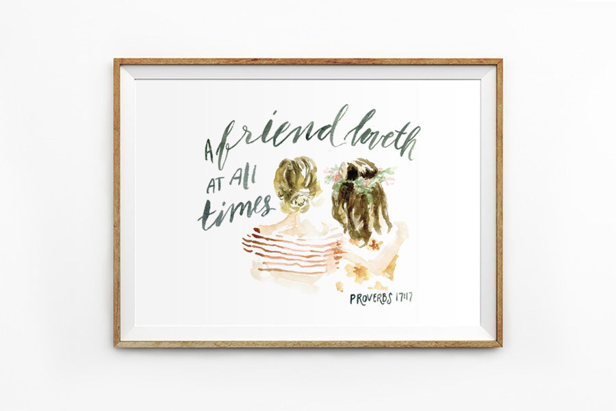 A landscape wall poster depicting friendship between two girls inspired by bible verse from Proverbs 17:17