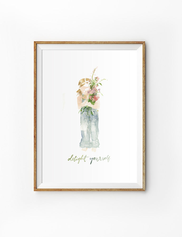Poster featuring typography bible verses 'Delight yourself' with a painting of a girl carrying flowers is hung on the wall in a gold photo frame. 200GSM paper, available in A3,A4 size.