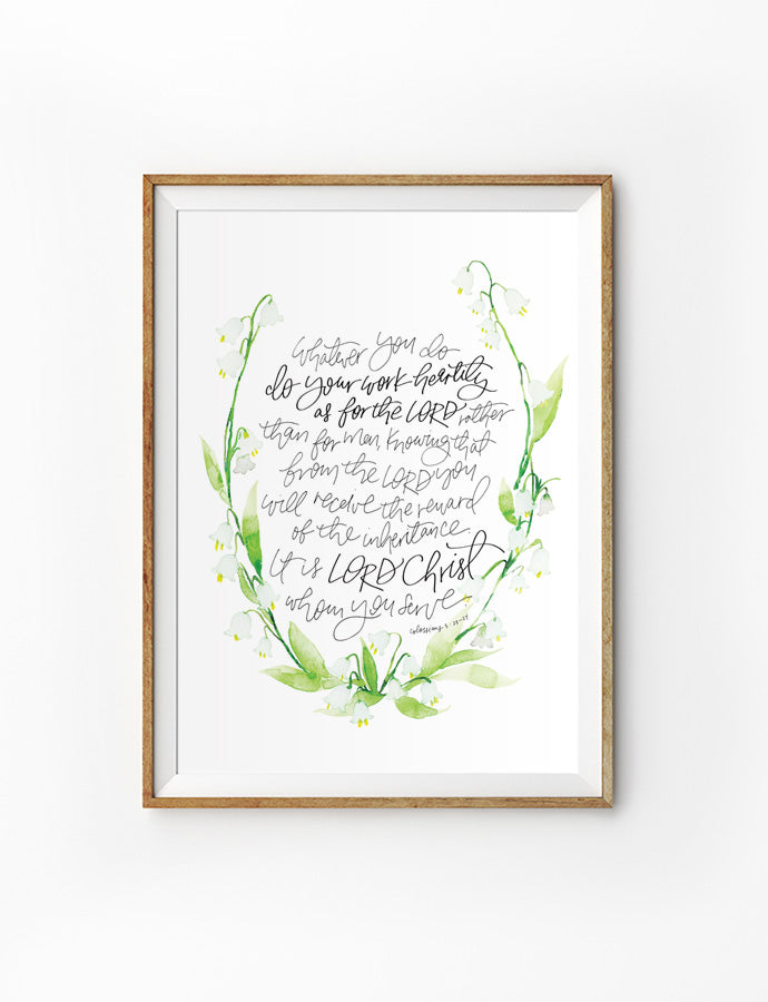 Poster featuring foliage and bible verses from Colossians 3:23-24 is hung on the wall in a gold photo frame. 200GSM paper, available in A3,A4 size.