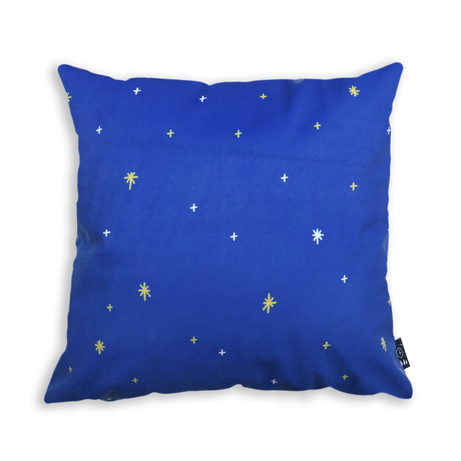 Blue cushion cover with stars details.