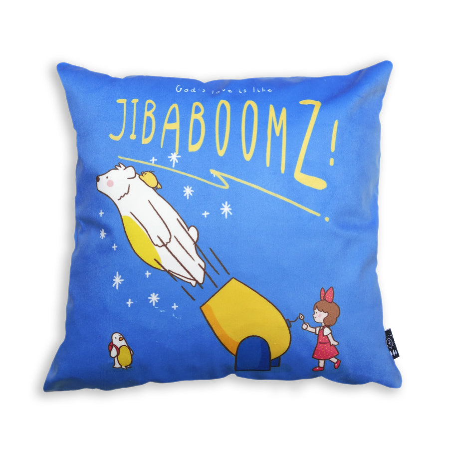 Premium 45cmx45cm pillow cover made of thick super soft velvet,  blue with designs of cartoon girl, chick and bear. With hidden zip feature. Features verse 'God's love is like Jibaboomz.'