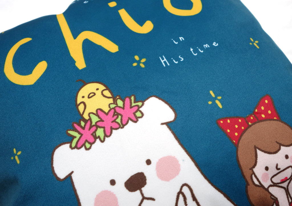 Close up of cartoon design of cushion cover - chick, bear and girl