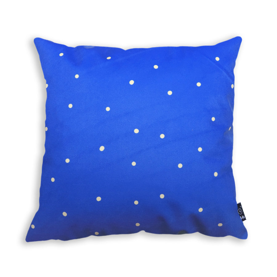 The back of the cushion cover features yellow polka dots on blue background. Great home decor ideas.