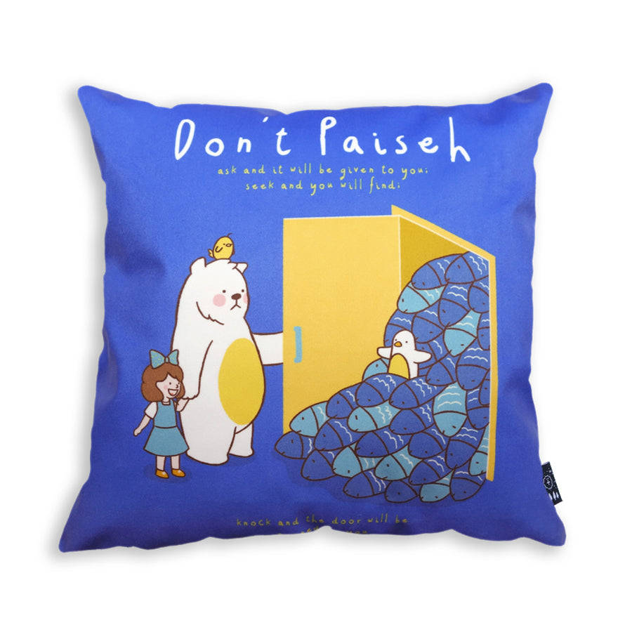 Premium 45cmx45cm pillow cover made of super soft velvet,  Cobalt blue theme with cute cartoon of chick, girl and bear. With hidden zip feature. Features verse 'Don't paiseh ask and it will be given to you'.