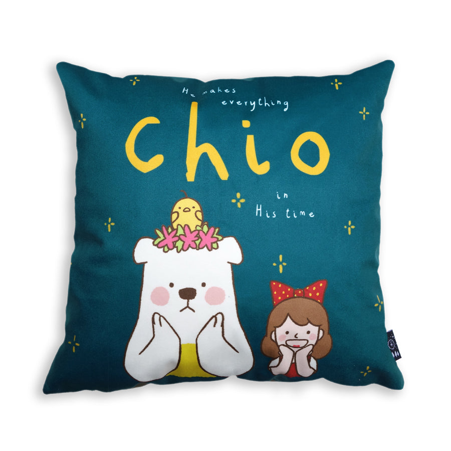 "Premium 45cmx45cm pillow cover made of super soft velvet, forest green wooden theme with encouragement bible verse in Singlish ""He makes everything chio in His time"" and cute chick, bear and girl cartoon designs."