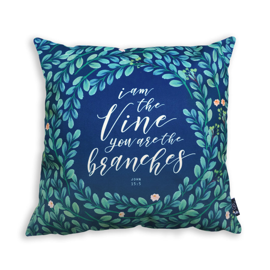 Premium 45cm x 45cm Super soft velvet cushion cover in navy. Features inspirational truth of 'I am the vine and you are the branches'.