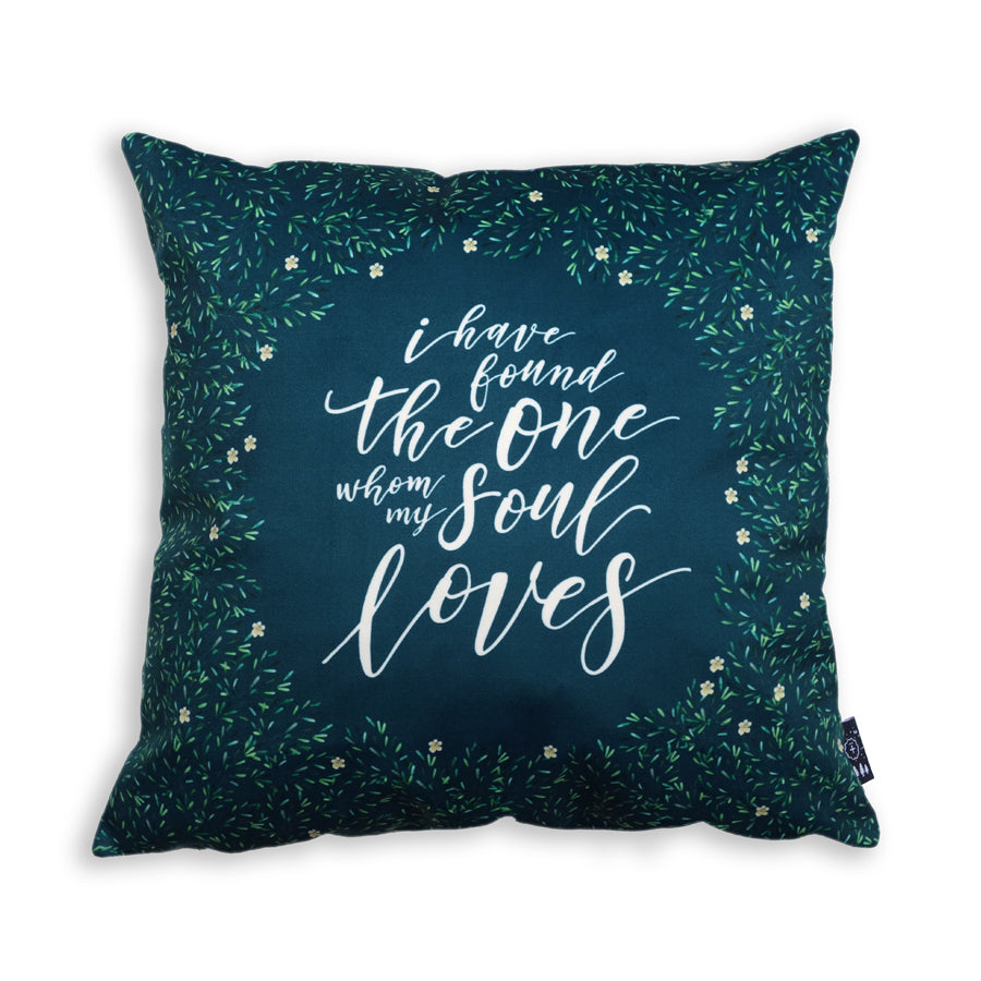 Premium 45cm x 45cm Super soft velvet cushion cover in navy. Features inspirational truth of 'I have found the one whom my soul loves'.