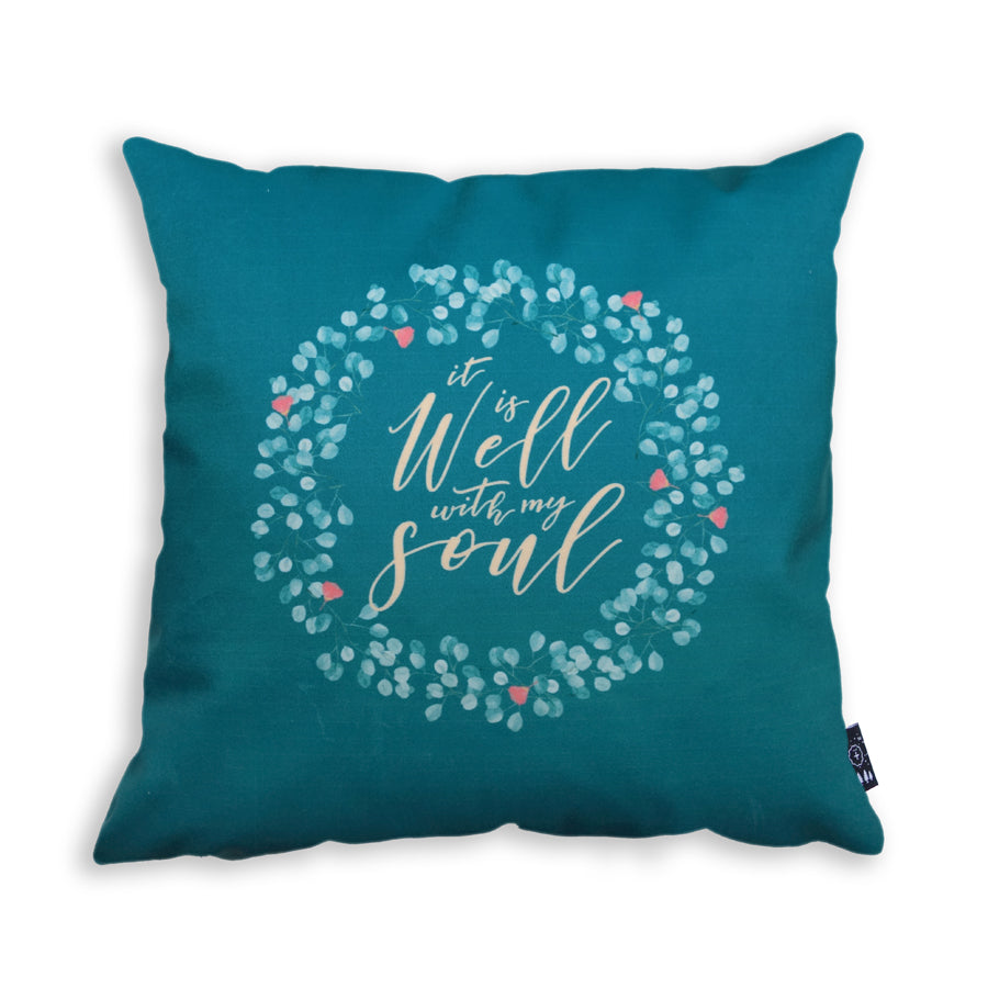 Premium 45cmx45cm pillow cover made of thick super soft velvet,  green with vines designs. With hidden zip feature. Features verse 'It is well with my soul'
