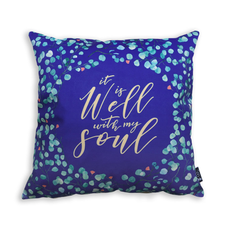 Premium 45cmx45cm pillow cover made of thick super soft velvet,  blue with vines designs. With hidden zip feature. Features verse 'It is well with my soul'