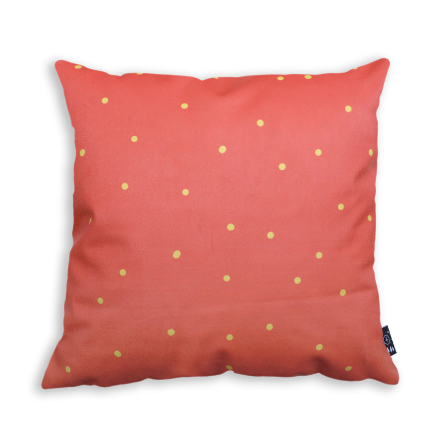 Cushion back features red velvet and yellow polka dots cushion