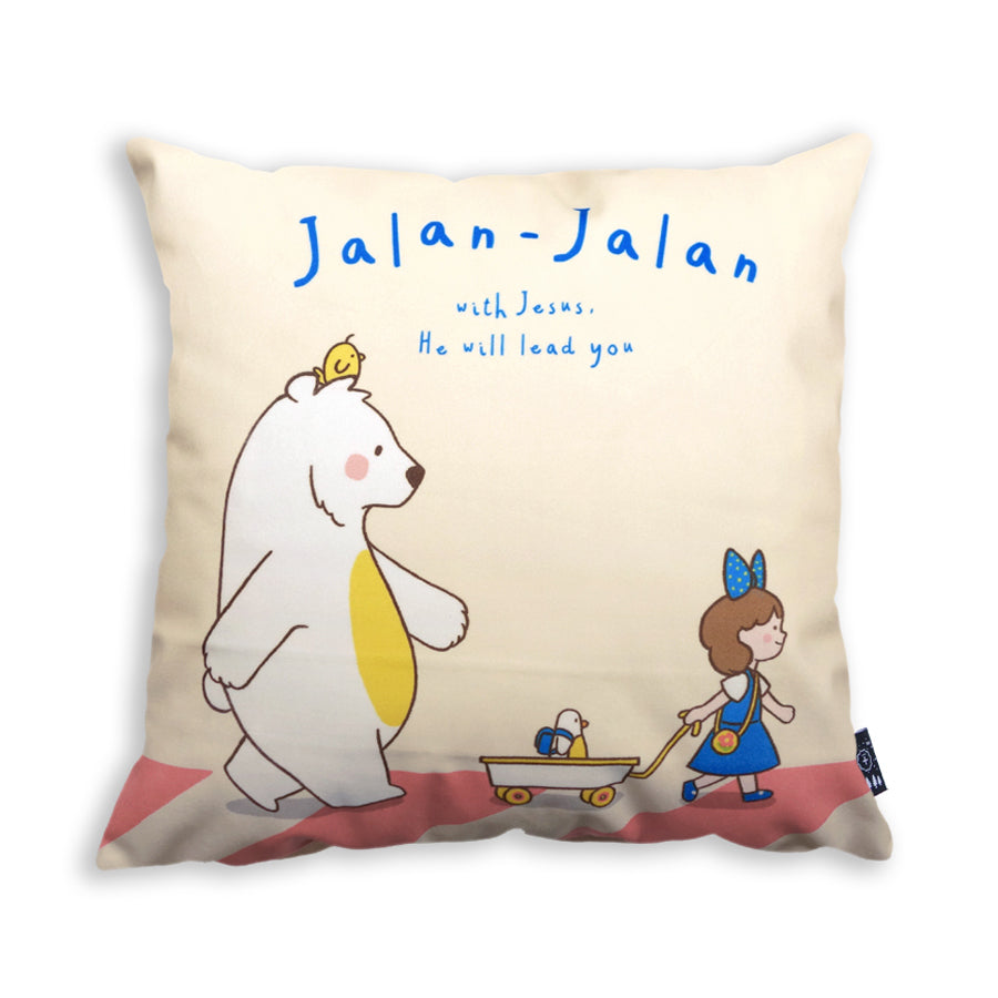 Premium 45cmx45cm pillow cover made of thick super soft velvet,  cream with designs of cartoon girl, chick and bear. With hidden zip feature. Features verse 'Jalan jalan with Jesus. He will lead you.'