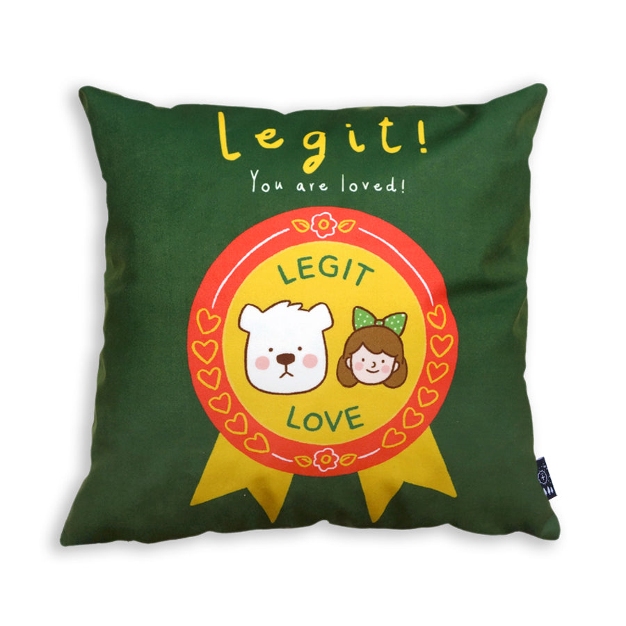 Legit you are loved cushion cover. Super soft velvet in army green and featuring cartoon of bear and girl.