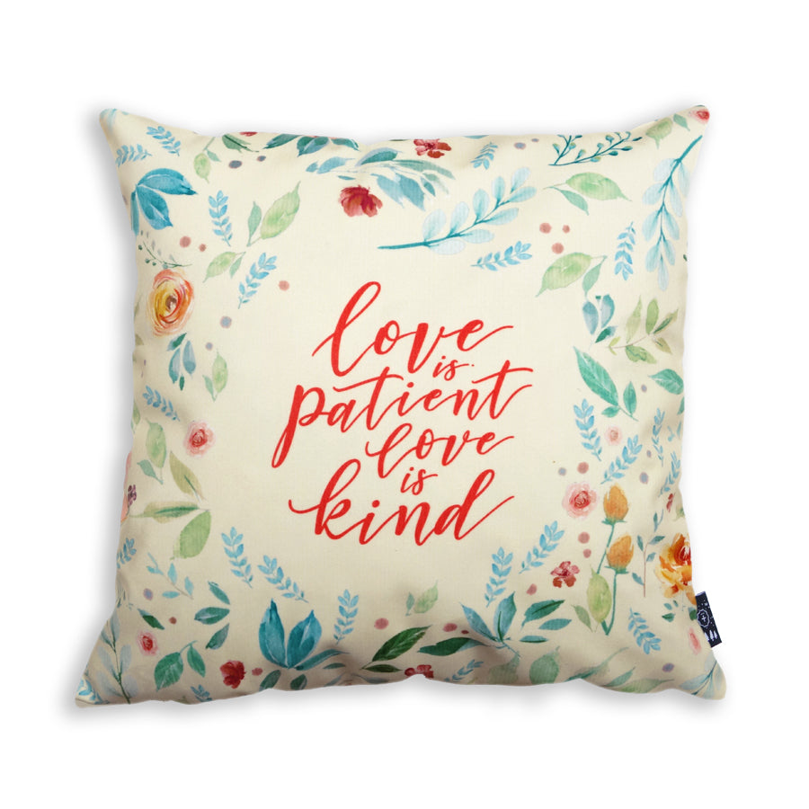 Premium 45cmx45cm pillow cover made of thick super soft velvet,  cream with forest designs. With hidden zip feature. Features verse 'Love is patient love is kind'.