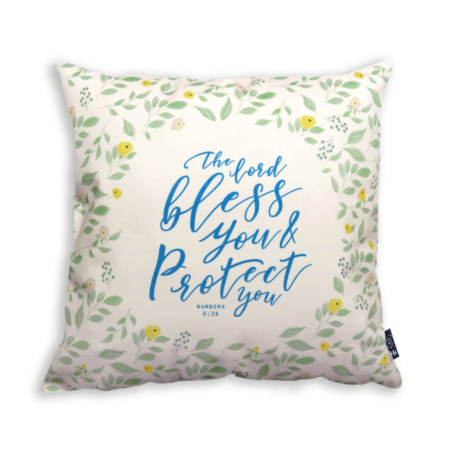 Premium 45cmx45cm pillow cover made of super soft velvet, green and white colour theme. With hidden zip feature. Features Numbers 6:24.