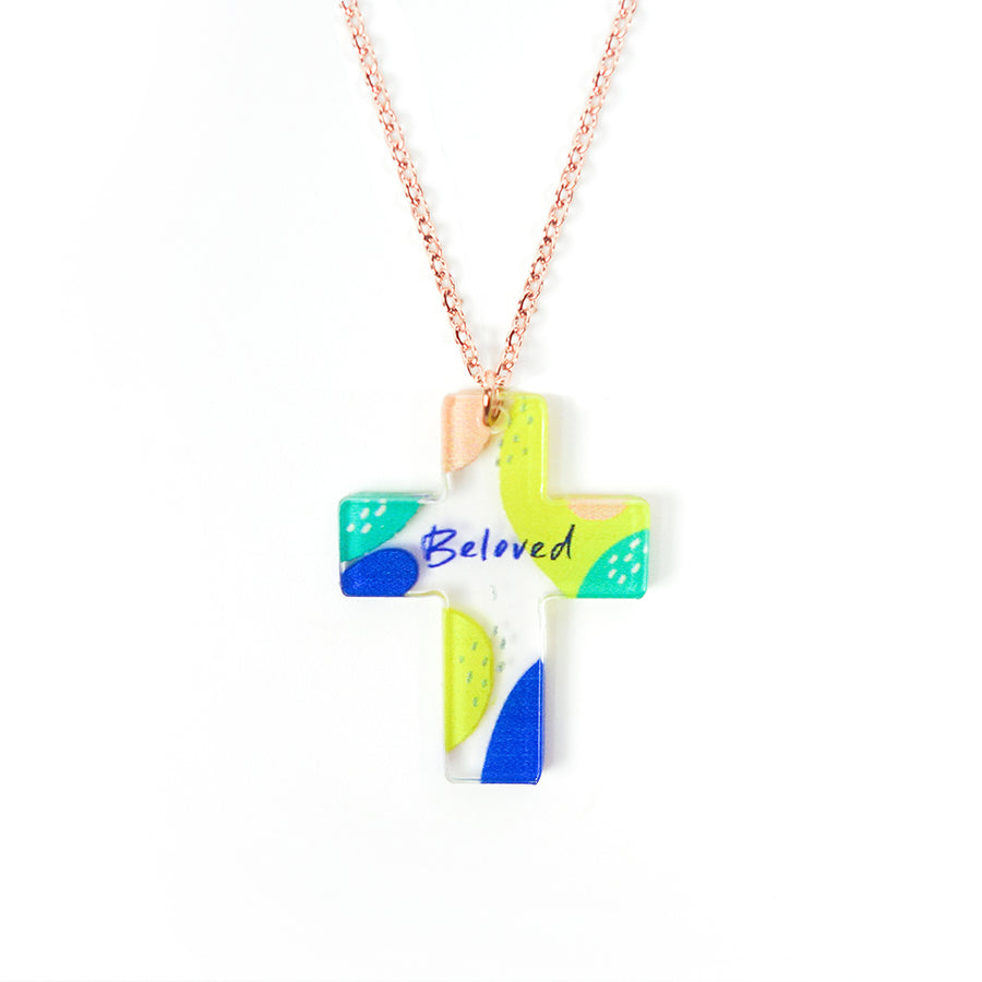 Acrylic transparent pendant with abstract designs and encouraging verse 'Beloved' makes for unique gifts. Rose gold plated stainless steel chains. Pendant height 2.7cm length 2.1cm. Chain length 42-46.5cm.