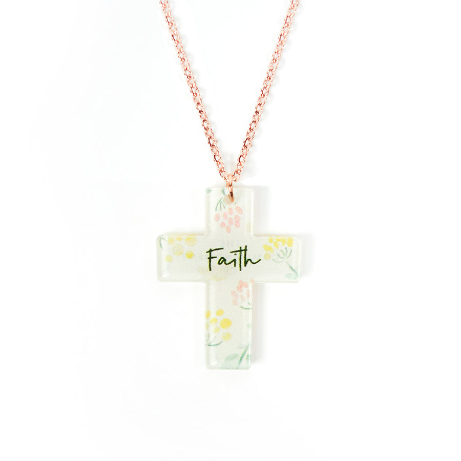 Acrylic cross pendant with floral designs and encouraging verse 'Faith makes for unique gifts for your Christian friends. Rose gold plated stainless steel chains.