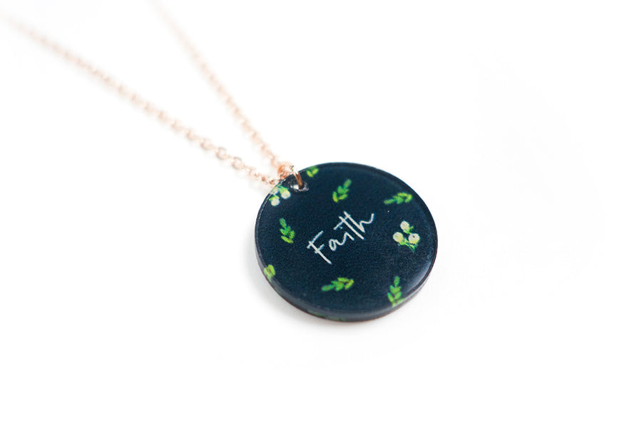 Black acrylic pendant with floral designs are perfect gifts for friend who like flowers and taking care of plants. Just like plants, faith needs to be taken care of.