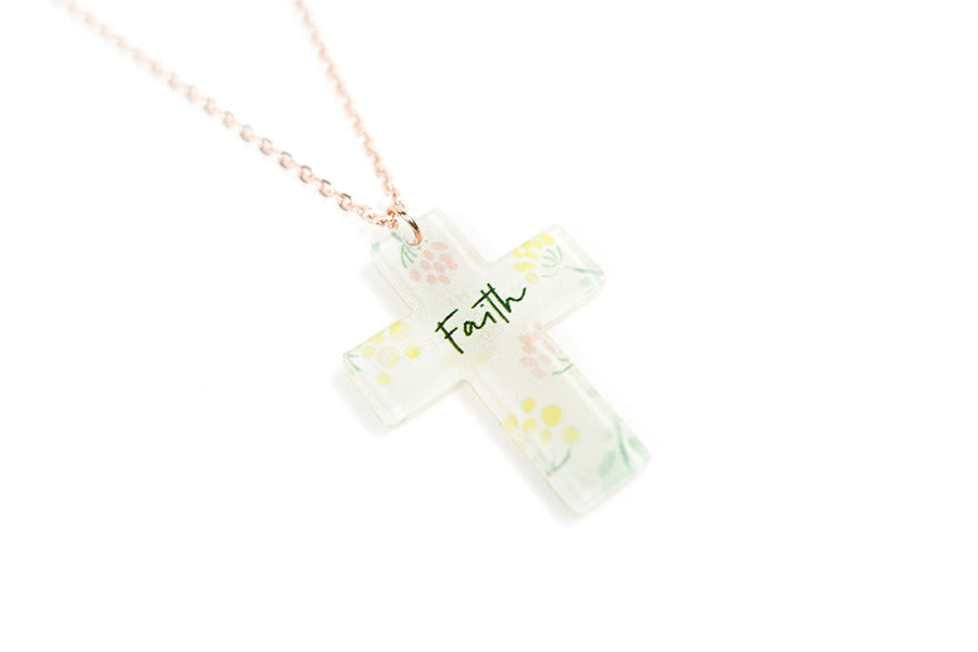 Acrylic cross pendants, amazing faith gifts with inspirational message. Pendant height 2.7cm length 2.1cm. Chain length 42-46.5cm.