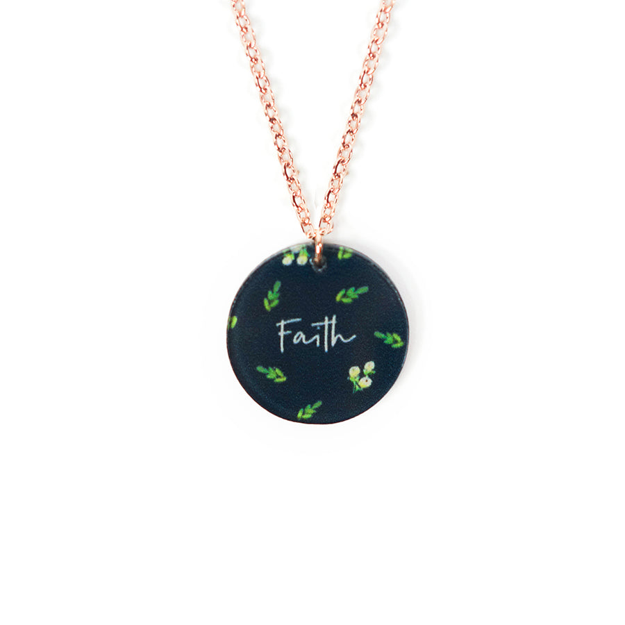 Acrylic round pendant with floral designs and encouraging verse 'Faith' makes for unique gifts for your Christian friends.