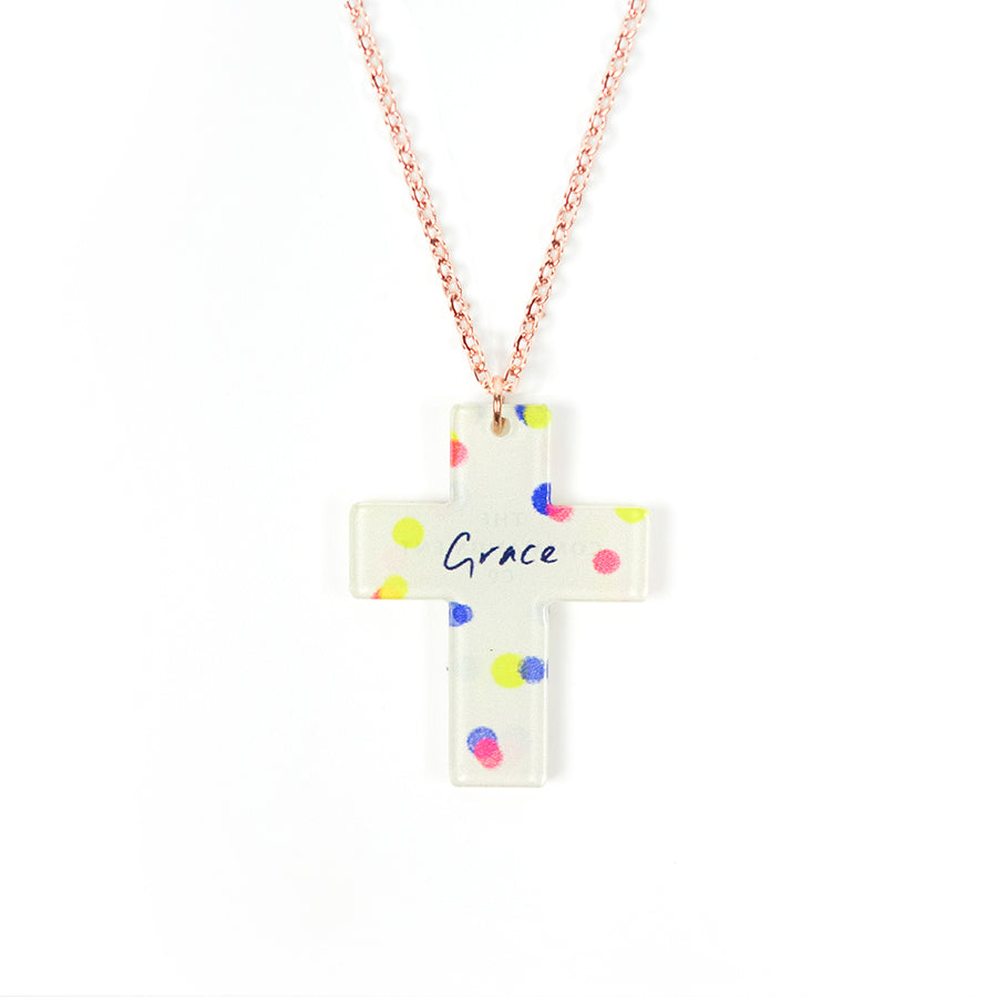 Acrylic white pendant with dots designs and encouraging verse 'Grace' makes for unique gifts for your Christian friends