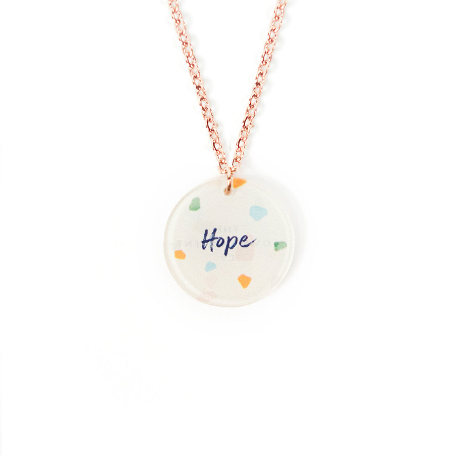 Acrylic round pendant with abstract designs and encouraging verse 'Hope' makes for unique gifts for your Christian friends.