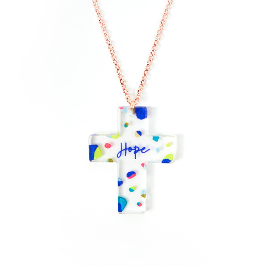Acrylic transparent pendant with dots designs and encouraging verse 'Hope' makes for unique gifts for your Christian friends.