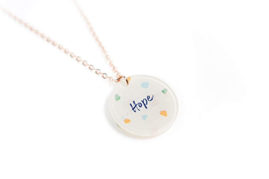 Inspirational gifts for friends for birthdays. Acrylic round pendant with abstract designs and encouraging verse 'Hope' makes for unique gifts for your Christian friends.